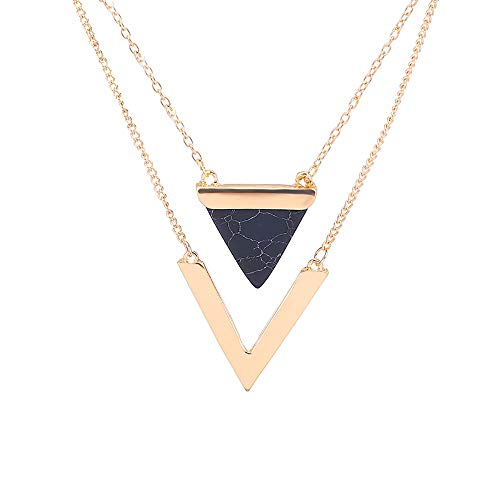 Double Layer Geometric V Letter Shape Triangle Stone Pendant Necklaces Party Jewelry For Women ()