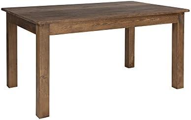 "Flash Furniture 60"" x 38"" Rectangular Antique Rustic Solid Pine Farm Dining Table"