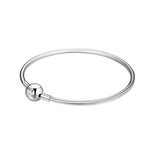 ChicSilve 3MM 925 Sterling Silver Basic Charms Bangle Bracelet with Round Silver Clasp 7.5