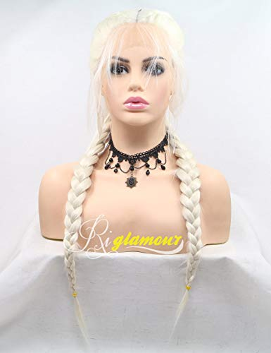 Platinum Braid - Riglamour Platinum Blonde Braided Pigtail Wig Lace Front Natural Looking Hair Parting Double Braids Wigs with Baby Hair Long Synthetic 100% Fiber Hair (Blonde #60)