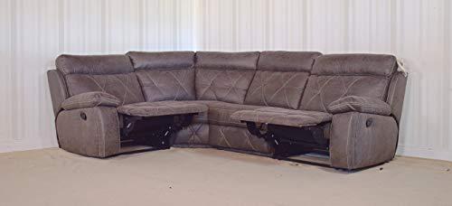 Homeflair Ashley Fabric Grey Manual Recliner 4 Piece Corner Sofa (34)