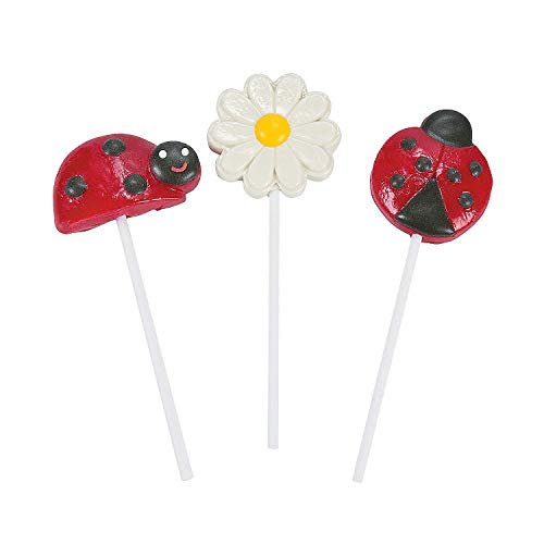 Ladybug Character Suckers for Birthday - 12 Pieces ()