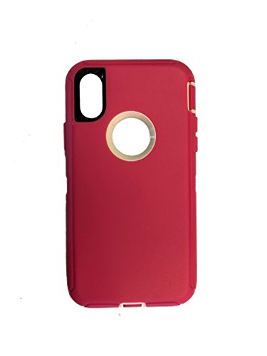(iPhone X Defender Case & Belt Clip for Apple iPhone Ten (Holster Fits Otter box) - iPhone 10 (Pink/White))