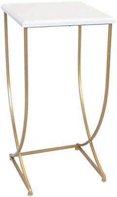 Nieuwe Uitgave Ay yu kleine bijzettafel, houten voetbalmeubel-metalen frame, woonkamer-sofa-bijzettafel, kast-rek lo 36 * 36 * 74 cm wit  aOnbyUm