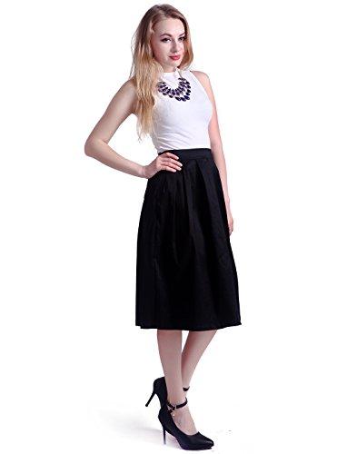 HDE-Womens-High-Waist-A-Line-Street-Skirt-Pleated-Flared-Full-Midi-Skirt