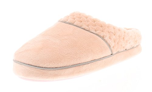 Pink Trim Slip Ons - Gold Toe Women's Celestina Quilted Collar Trim Plush Memory Foam Slip On House Slipper Scuffs Shoes Pink XL 10-11 US