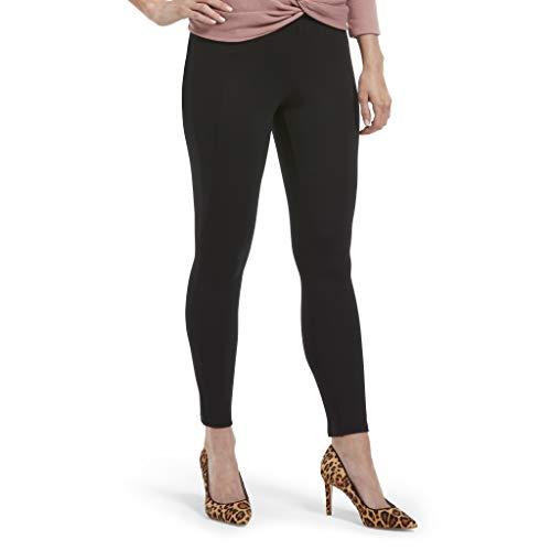 HUE Women's Ponte Skimmer Leggings, Assorted, Elastic Waistband/black, S
