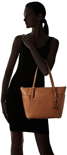 Michael Kors Jet Set Large Top-zip Saffiano Leather Tote - Bolso de hombro Mujer Beige (Luggage)