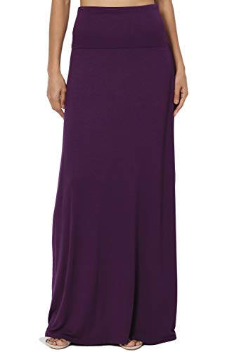 ual Solid Draped Jersey Relaxed Long Maxi Skirt Dark Purple M ()