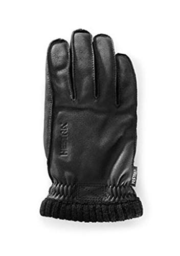Hestra Leather Gloves: Mens and Womens Primaloft Thin Winter Gloves, Dark Brown, 7