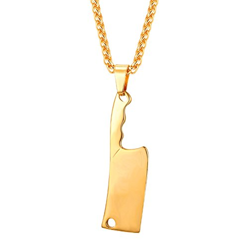 Men Personalized Necklace 18K Gold Plated Chain & Kitchen Knife Pendant Punk Hip Hop Style by U7