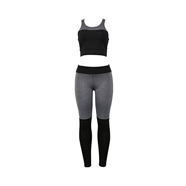 Landove Vetement Sport Femme Fitness Ensemble 2 Piece Crop Top et Legging Ete accessoires de fitness [tag]