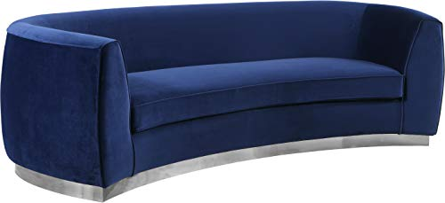 Meridian Furniture 621Navy-S Julian Collection Modern   Contemporary Velvet Upholstered Sofa with Stainless Steel Base in a Polished Chrome Finish, 91.5