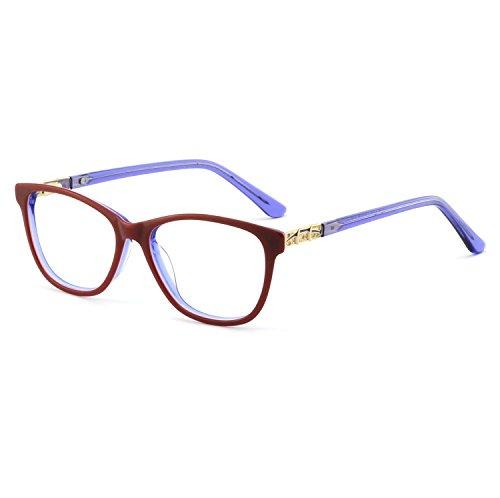 OCCI CHIARI Stylish Women's Eyewear Clear Lens Frame Glasses Samll Circle Non Prescription Eyeglasses (Red+Blue)