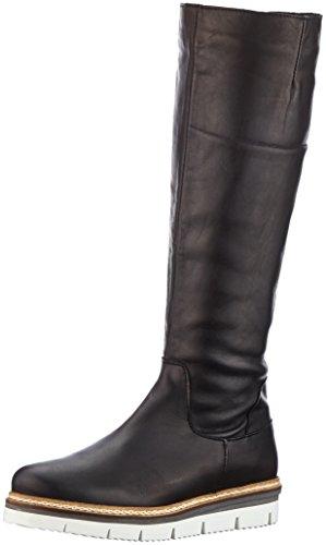 11 Bottes Femme Souples Black Bianco Longboots Mit Profil Noir HqgT68