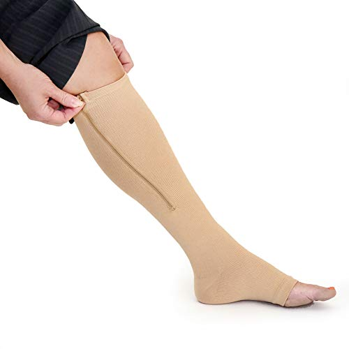 Zipper Medical Compression Socks with Open Toe - Best Support Zipper Stocking for Varicose Veins, Edema, Swollen or Sore Legs 15-20mmHg (XXL, Beige)