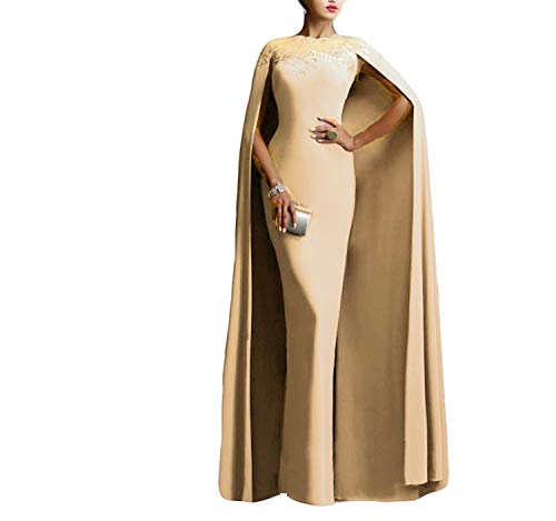 Ellenhouse Women's Long Mermaid Formal Gown Prom Evening Dresses with Cape EL349 Champagne ()