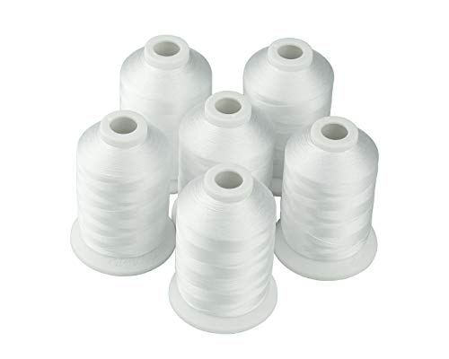 Thread Brother Polyester - New Simthread 6 Polyester Machine Embroidery Threads for Brother, Babylock, Janome, Pfaff, Singer, Bernina and Other Home Machines (White)