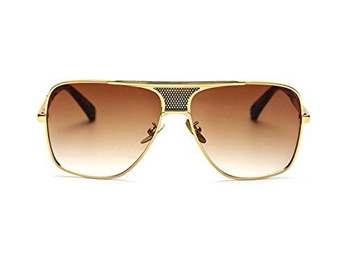 Unisex Gradiente Oro Té Metal Redondas Sol Lente Grandes Retro uv400 De Clásicas Gafas Vintage Hombre Marco Aviador Cuadrado gRxqT