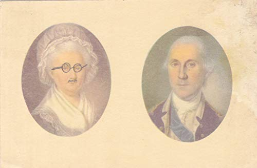 352VINT03 A 1967 MINIATURE PORTRAITS OF GEORGE AND MARTHA WASHINGTON, By Charles Wilson Peale and James Peale in Mount Vernon Museum VINTAGE COLLECTIBLE ANTIQUE POSTCARD .. .. from HIBISCUS EXPRESS - Portraits Miniature Antique