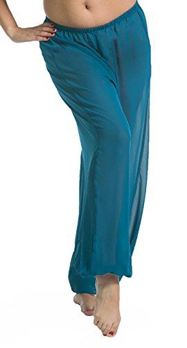 Belly Dance Chiffon Harem Pants | Sheer Shadow - Teal