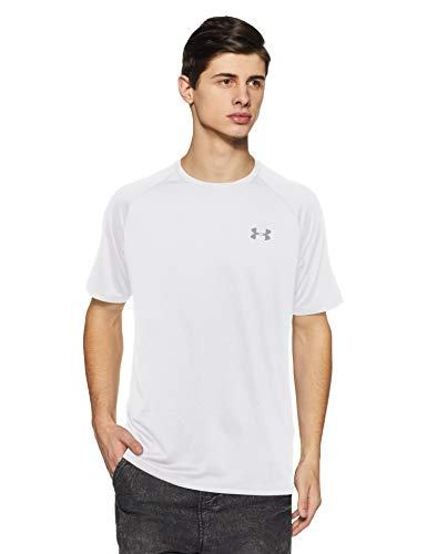 Under Armour Men's Tech 2.0 Short Sleeve, White (100)/Overcast Gray, Small