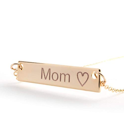 (Mother's day gift ideas Personalized Name Bar Necklace 16k Gold Silver RoseGold Plated Dainty Diamond Machine Engraving Personalized Necklace bridesmaid Best Graduation Day gift)