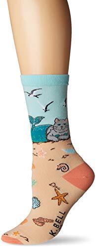 K. Bell Women's Fun Novelty Crew, sand cat mermaid Shoe Size: ()