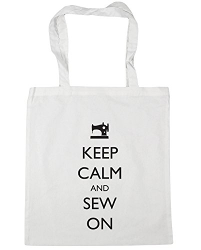 HippoWarehouse Keep Calm and Sew On Tote Shopping Gym Beach Bag 42cm x38cm, 10 litres White