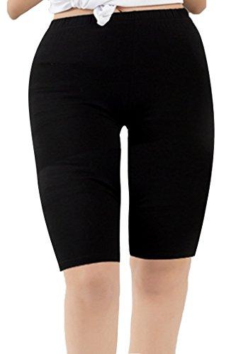 New Womens Long Shorts (Zando Women's Modal Over The Knee Length Smooth Short Plus Size Sport Leggings F Black US 2X Plus-US 4X Plus)