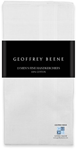Geoffrey Beene 13 Pack Men's Fine Handkerchiefs 100% Cotton White