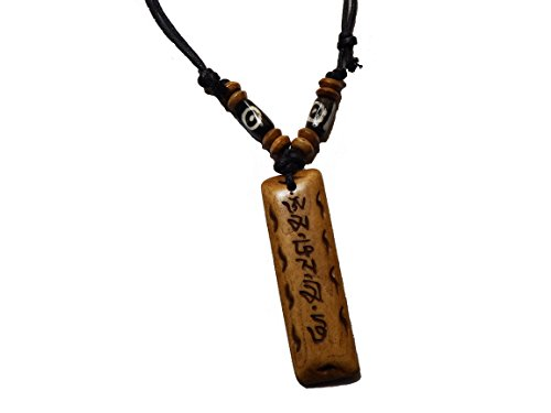 Tibetan Adjustable Handmade Necklace Made in Nepal Embossed with Tibetan Mantras and Symbol.