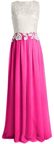 MACloth Women Lace Chiffon Long Prom Dress Wedding Party Bridesmaid Formal Gown Fuchsia