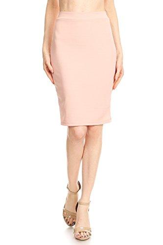 Knee Length Textured Pencil Skirt (Medium, Light Pink) (Textured Skirt Pencil)