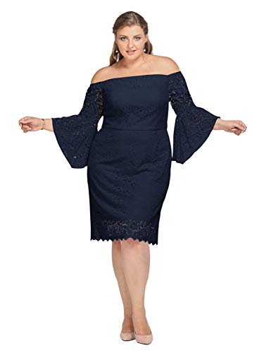 Alicepub Lace Wedding Dress Plus Size Short Formal Gown Party Cocktail Dresses with Sleeve, Dark Navy, US16