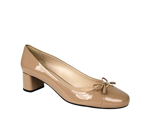 Prada Women's Nude Patent Leather Heel and Gold Logo 1I419F (40 IT / 10 US)