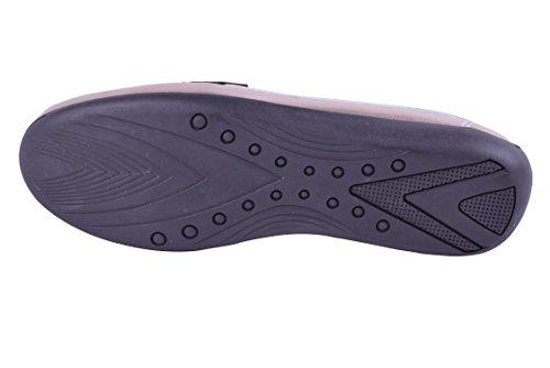 Verslaving Door Fabia Maat 9-13 Dames Geniune Lederen Instappers Loafers Verfijnde Comfortabele Jurk Platte Schoenen Breed Rose Goud / Tin