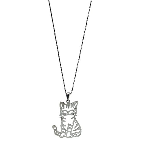 LaRaso & Co Sterling Silver Cat Pendant Chain Womens Jewelry Necklace (W/ 18 Inch Chain)