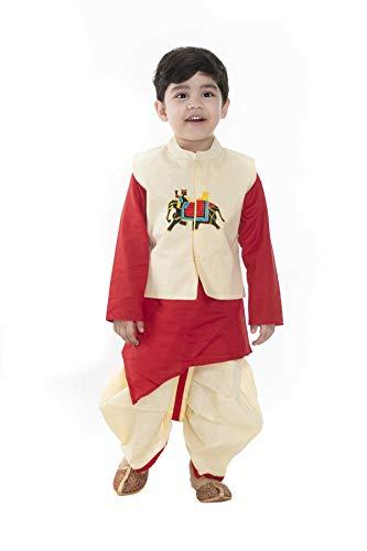 NEW GEN Boy's Cotton Jacket, Kurta Dhoti Set