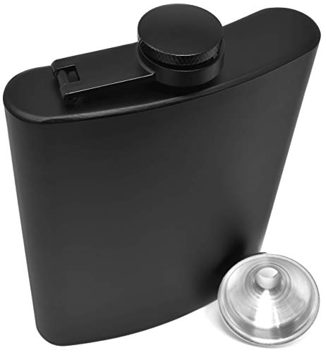 Hip Flask for Liquor Matte Black 8 Oz Stainless Steel Leakproof with Funnel in Gift Package for Men & Women for Perfecting Your Drinking Experience! ()