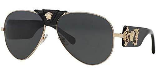 Versace VE2150Q - 100287 Gold/Black Aviator Sunglasses 62mm (Replica Louis Vuitton Glasses)
