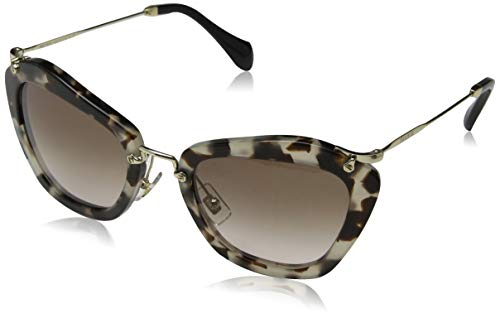 Miu Miu Women's Cat Eye Sunglasses, Opal Ivory Havana/Brown, One ()