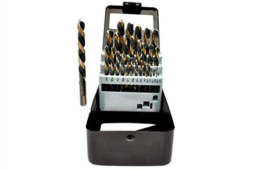 - 29PC Left Hand Industrial Black & Gold Drill Bit Set 135 degree split Point