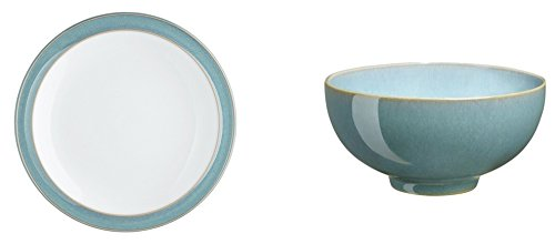 Denby Azure Tea Plate and Rice Bowl, Set of 2 by Denby