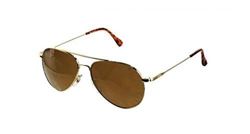 AO Eyewear American Optical - General Aviator Sunglasses with Wire Spatula Temple and Gold Frame, Cosmetan Brown Glass Polarized Lens