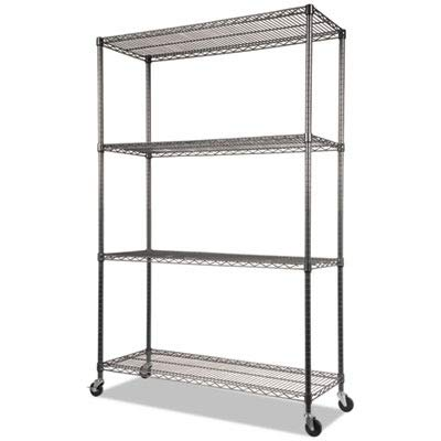 "Alera ALESW604818BA Complete Wire Shelving Unit w/Caster, 48"" x 18"" x 72"", Black Anthracite from Alera"