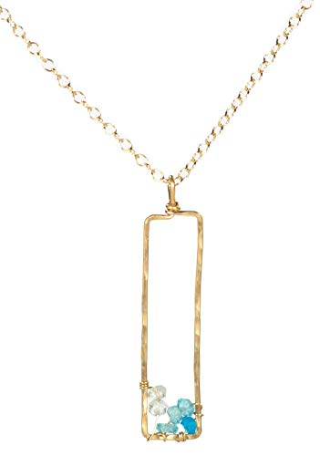 - Gold Ombre Blue Rectangle Pendant Necklace - 14k Fill Aquamarine Apatite Jewelry Gift - Christmas,Holiday,Hanukkah,Stocking