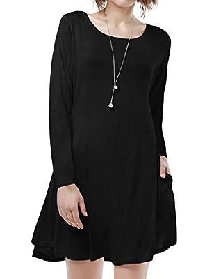 BELAROI Women's Casual Flowy Swing Loose Long Sleeve Dress with Pocket Plus Size Knee Length