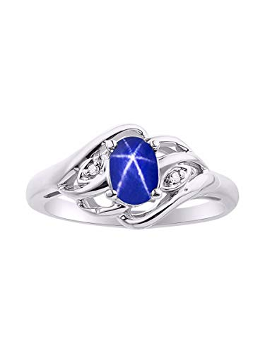 (Diamond & Blue Star Sapphrie Ring Set In Sterling Silver .925)