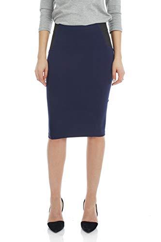 (Esteez Women's Pencil Skirt Ponte Knit Slimming Side Panels Charlotte Navy Large)